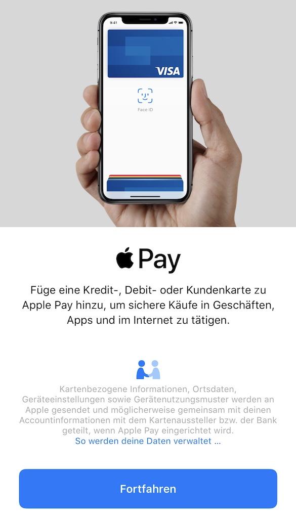Apple Pay Karten hinzufügen